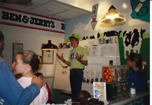 BJ Ithaca Youth Scoops Scooper presents at community meeting at store